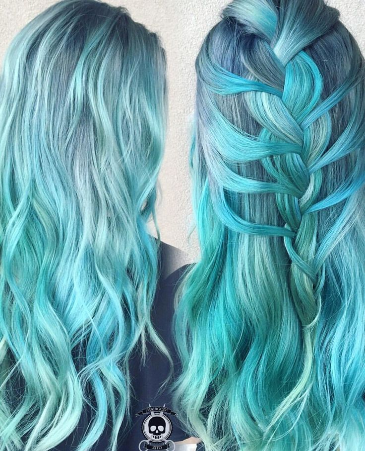 Smoky Mint Madness by @hairgod_zito pastel hair mint hair turquoise hair braids hotonbeauty.com