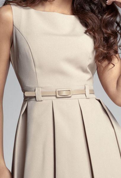 Cool-style. #vestido #pregas #nude #cinto