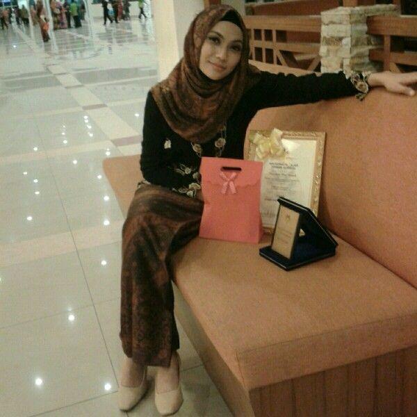Hijab - Traditional Kebaya with matching Batik sarong and hijab.
