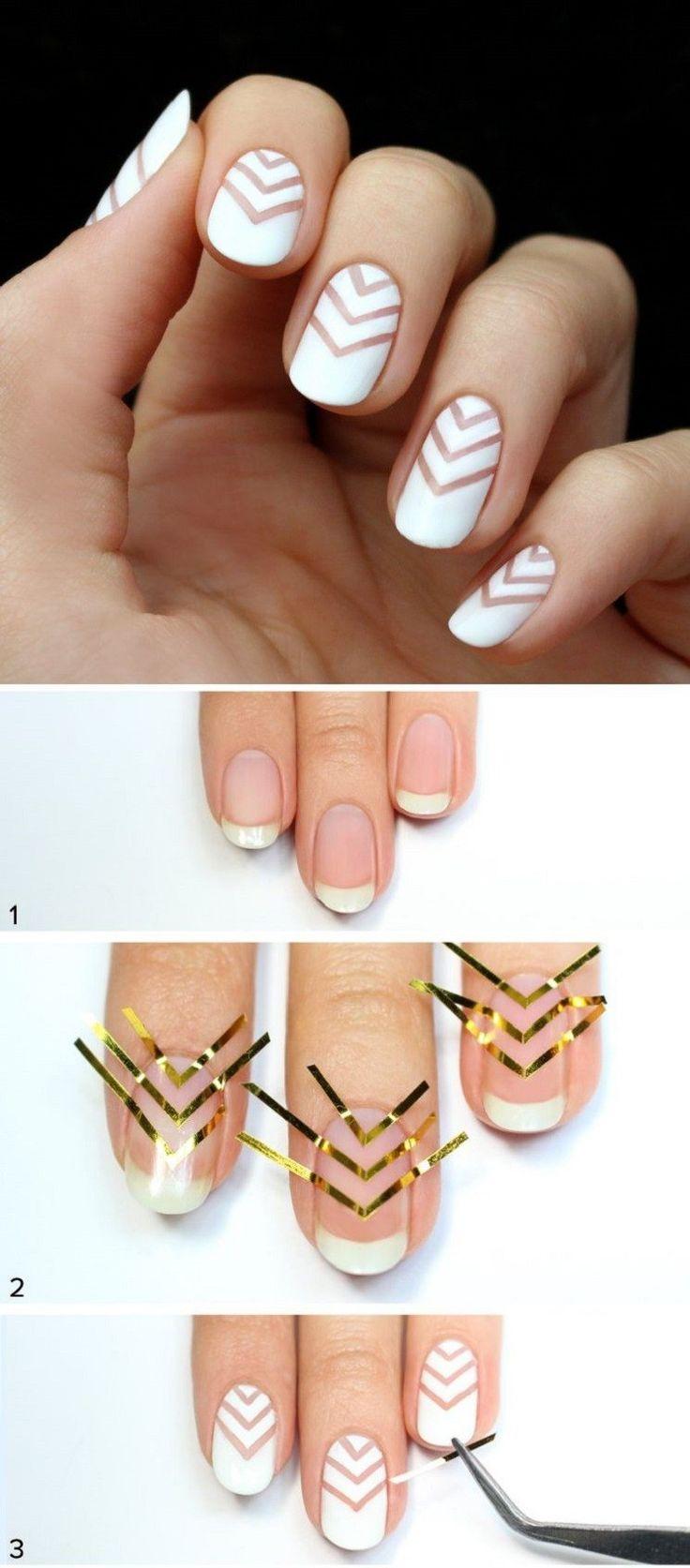 tutorial para esta manicura blanca moderna este 2016