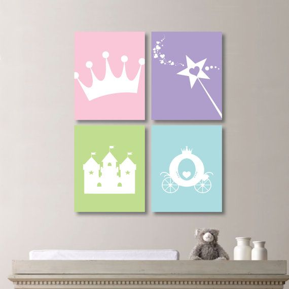 Baby Girl Nursery Art Print. Princess Bedroom Art. Princess Art. Princess Nursery Art. Girl Nursery Art. Baby Girl. Princess Canvas. NS-419  You will receive all four prints in the size you select. Each one will measure the size selected. Please select either photo paper (Frames not Included) or Canvas. The colors used are light pink, lavender, apple green and aqua. If you would like to change the colors to match your rooms decor, please add your request in the notes section at checkout…
