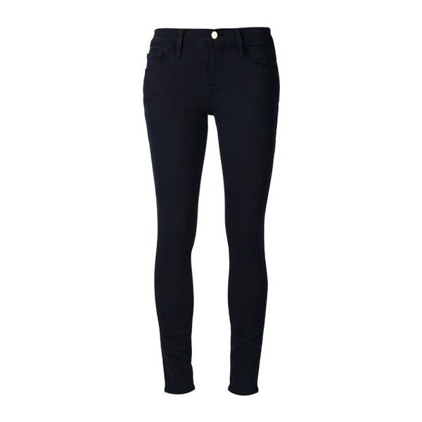 FRAME DENIM Skinny Jeans ($260) ❤ liked on Polyvore featuring jeans, pants, bottoms, calças, trousers, black, frame denim, skinny fit jeans, skinny leg jeans and cut skinny jeans