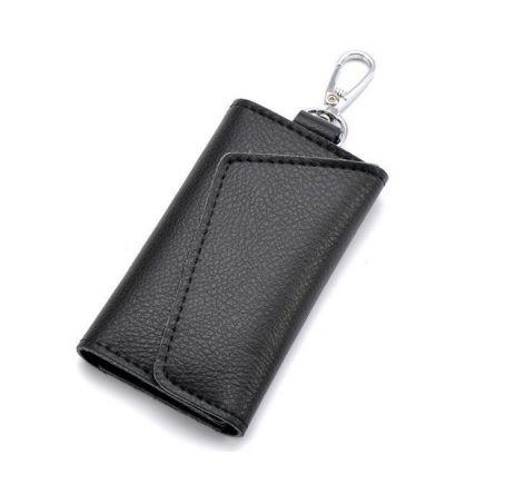 Black Colour PU Keyholder with Magnet Details