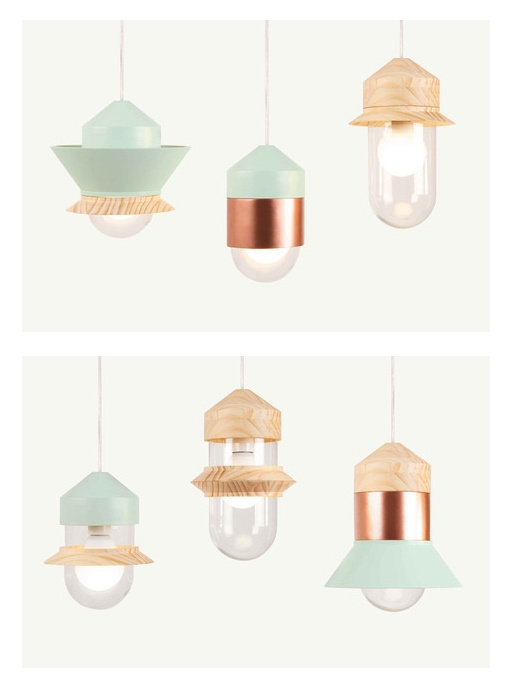Santorini lamps by Sputnik with interchangeable wooden parts allowing all sorts of light combinations. very cool.