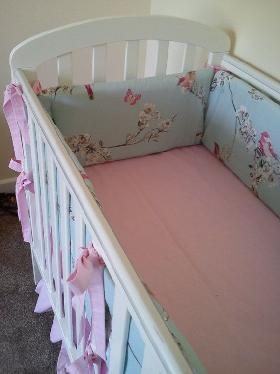 Vintage bird design Duck egg Blue cot bedding set 4 sided all the way round bumper, quilt, crib skirt and fitted sheet