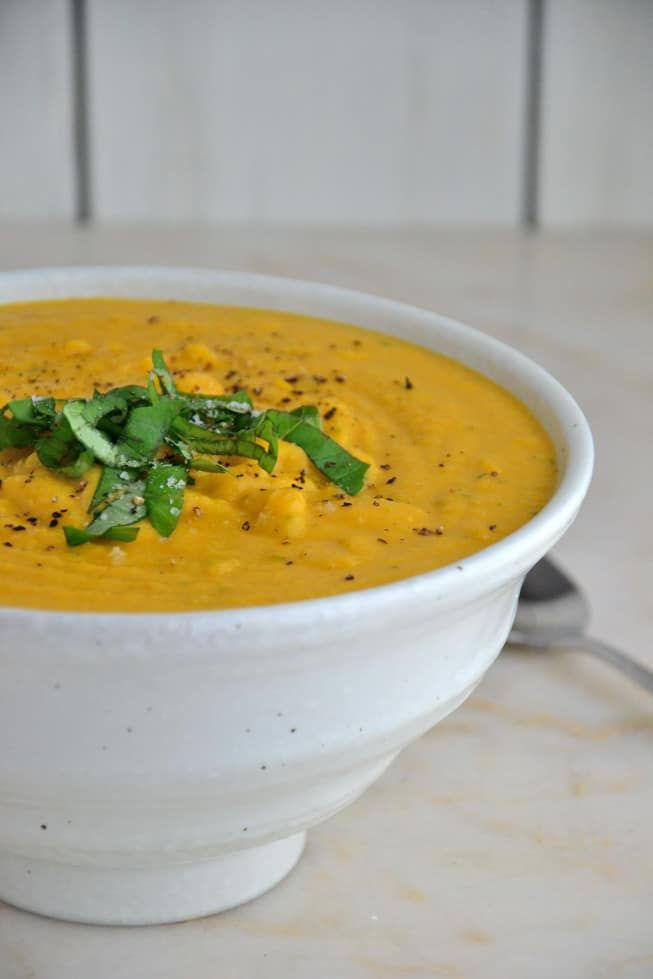 The Best Butternut Squash Soup || This  soup packs all the vegan and super creamy goodness into a bowl without the fuss. This soup is made without dairy, gluten, nuts or soy so you can serve it to your entire family for   dinner thanks to a new alternative milk that's made from yellow peas.