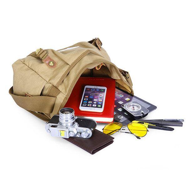 Retro Message Bag Casual Canvas Crossbody Bag Shoulder Bag For Men