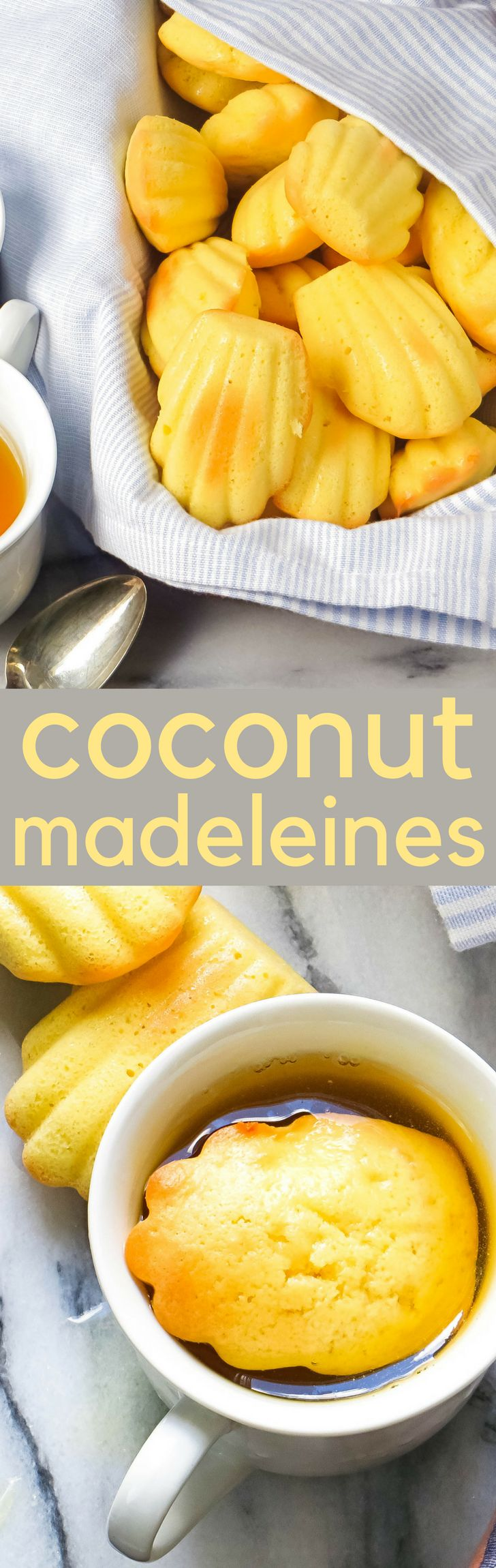 This authentic madeleine recipe is an easy to make snack. A cross between sponge cake and cookie coconut madeleines go great with tea! #cookies #christmascookies #madeleines #coconut