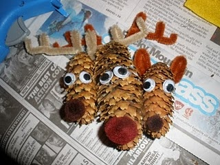 Christmas ornaments out of pine cones
