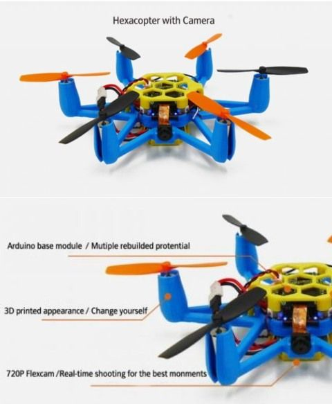 FLexBot Hexacopter: 3D Printed Drone with Camera | Cool 3D