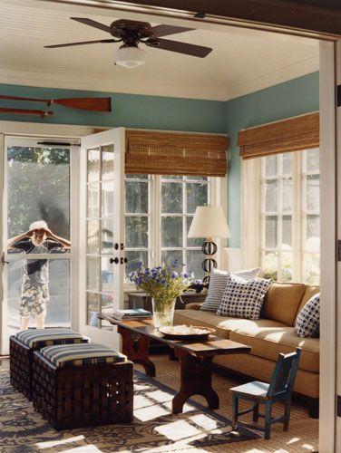 Blue & brown, Hamptons style: Duck egg blue + rattan + natural beachy decor