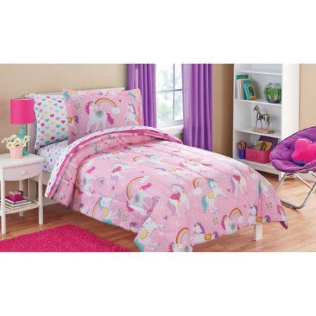 Mainstays Kids Rainbow Unicorn Bed in a Bag Complete Bedding Set, Pink
