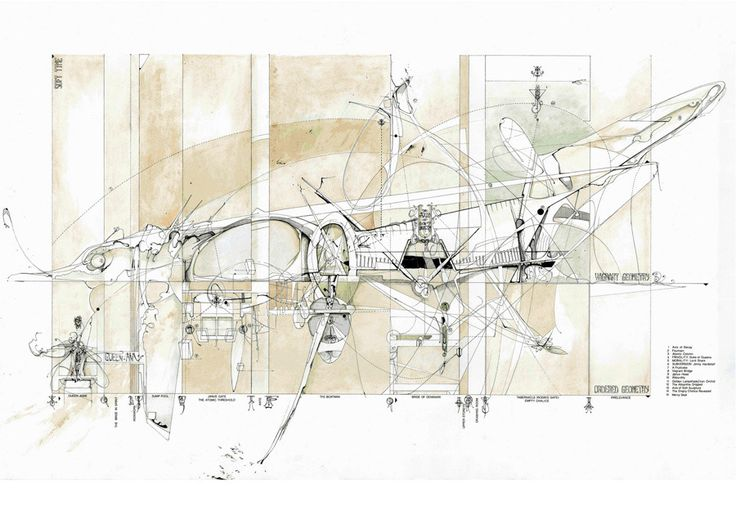 The Axes of Soft Ornament | Drawing: Dan Slavinsky | A Series of Drawings from the End of Time | Bartlett, London, 2010