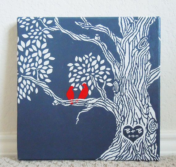 ... Gift Ideas, Canvas Tree, Mine, Craft Ideas, Canvas Wedding Gift, Bird