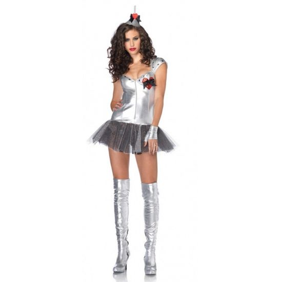 Leg Avenue Tin Man jurkje voor dames. Zilveren kostuum voor dames van de Blikken Man uit het verhaal van de Tovenaar van Oz. Dit luxe Tin Man kostuum bestaat uit een tutu jurkje, vingerloze handschoenen en een bijpassend hoedje.