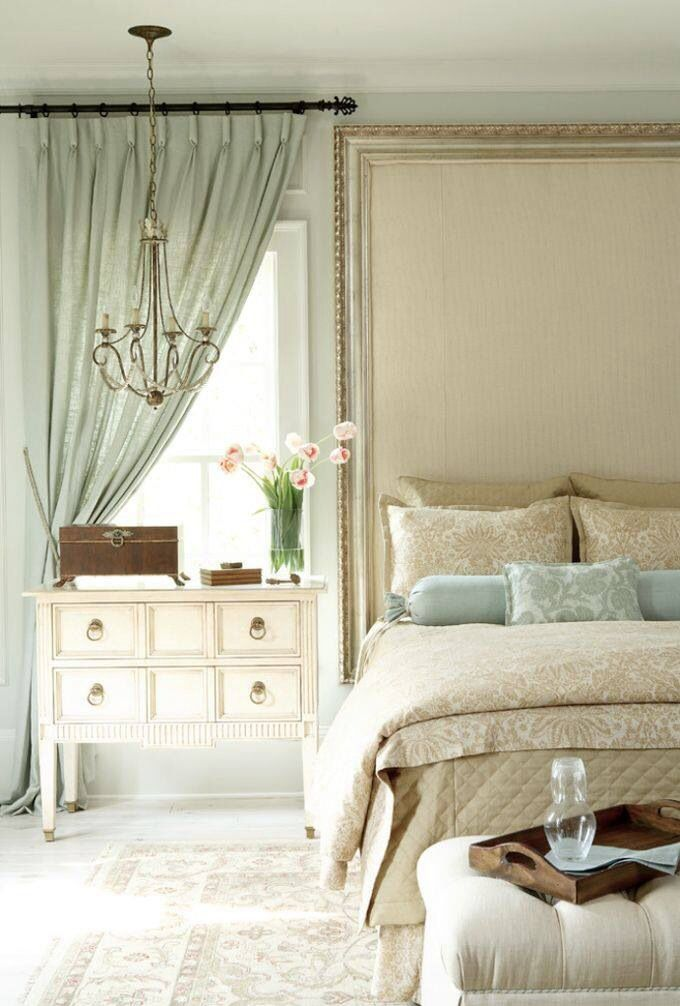 Duck egg and cream bedroom. I really like the idea of an oversize headboard.