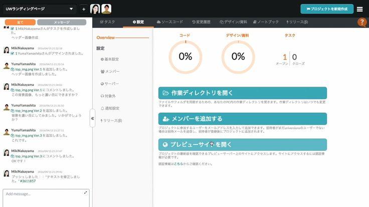 Web制作チームのためのコラボレーションツール「Universions」