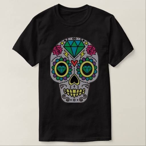 (Colorful Flower Sugar Skull T-Shirt) #Calavera #Cool #DayOfTheDead #DeLosMuertos #DiaDe #DiaDeLos #DiaDeLosMuertos #Flower #Funny #Halloween #Hipster #Mexican #Muertos #Pattern #Psychedelic #Skeleton #Skull #SugarSkull #Tattoo #Vintage #Whimsical is available on Funny T-shirts Clothing Store   http://ift.tt/2frIO5O