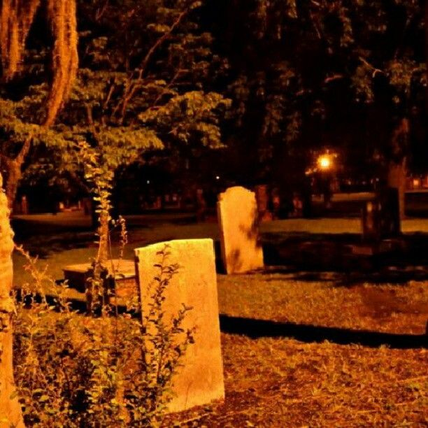 Spooky Colonial Park Cemetery at night… #Savannah