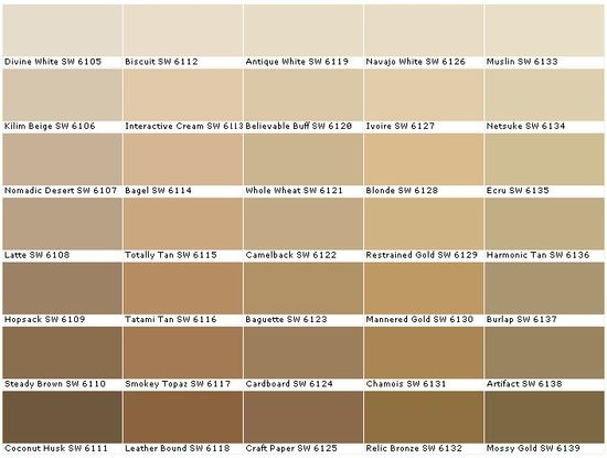 Sherwin Williams SW6105	Divine White  SW6106	Kilim Beige  SW6107	Nomadic Desert  SW6108	Latte  SW6109	Hopsack  SW6110	Steady Brown  SW6111	Coconut Husk  SW6112	Biscuit  SW6113	Interactive Cream  SW6114	Bagel  SW6115	Totally Tan  SW6116	Tatami Tan  SW6117	Smokey Topaz  SW6118	Leather Bound  SW6119	Antique White  SW6120	Believable Buff  SW6121	Whole Wheat  SW6122	Camelback