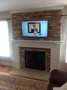 fireplace makeovers - Google Search...brick all over wall around fireplace?