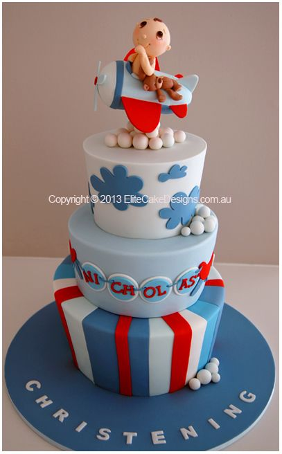 Baby Pilot Aeroplane Christening Cake for boys - would be an awesome birthday cake too.