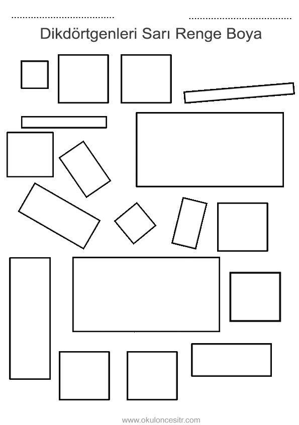 Dikdörtgen Kavramı çalışma Sayfası Geometrik şekiller