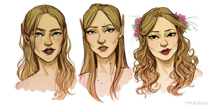 Feyre, Nesta, Elain.  Nesta shouldn't have pointed ears, it said she had rounded ears not pointed.  P.S.  Okay so after rereading the book what I should have said was: Nesta's ears appear to be different so maybe they aren't pointed.  I believe she is Illyrian and Illyrian's ears aren't pointed.