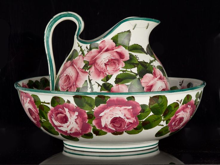c1890 Wemyss Ware Large Toilet Basin Bowl & Pitcher Rose Pattern