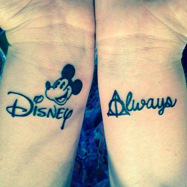 Mickey mouse disney tattoo & Always Harry Potter Tattoo <3