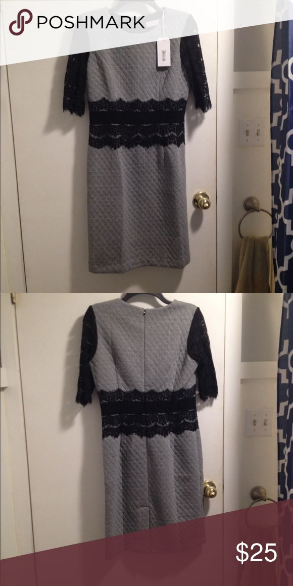Black and white check dress Black and white check dress brand new never worn, form fitting with lace detail has a lot of stretch size large fits like a medium.  Great for work or a special occasion. Dresses Mini