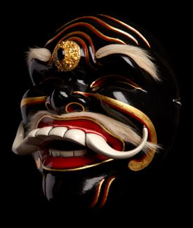 """Topeng Pajegan Sidha Karya """"The One Who Can do the Deed"""" mask Materials: Painted wood, hair Location: Bali"""