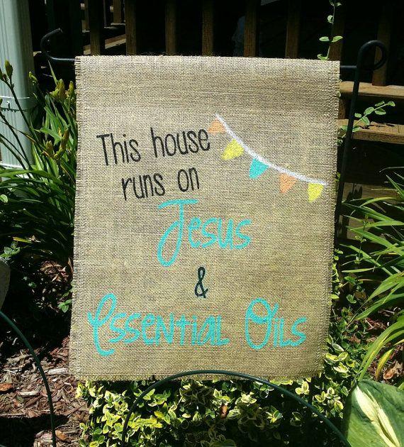Check out this item in my Etsy shop https://www.etsy.com/listing/385873576/essential-oils-and-jesus-garden-flag #etsy #handmade #essentialoils #youngliving #doTerra #gardenflag #gardendecor #mom #jesusandme