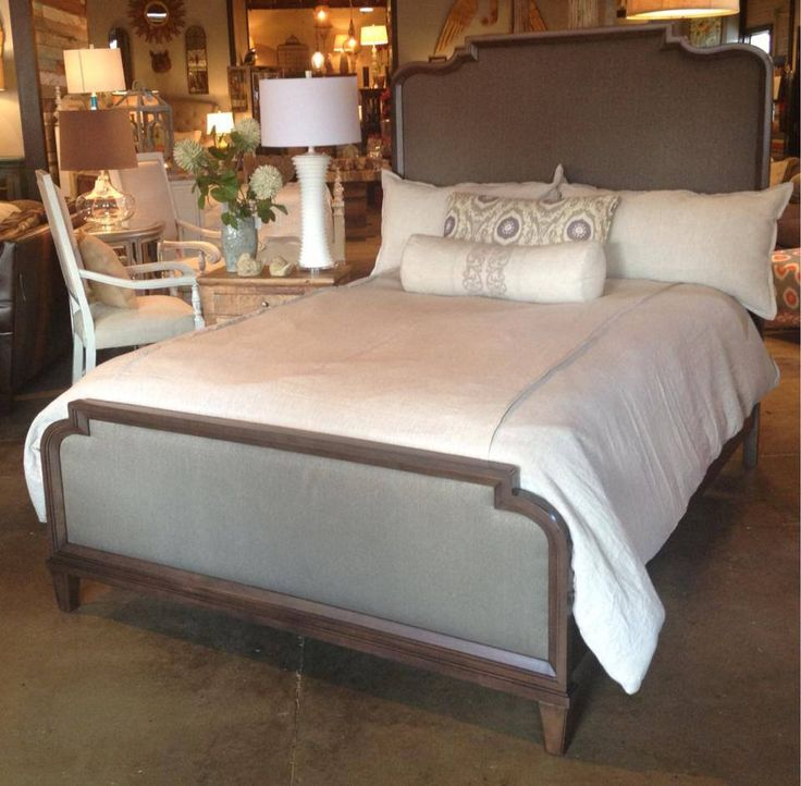Solid wood bed with upholstered headboard and footboard by for King footboard