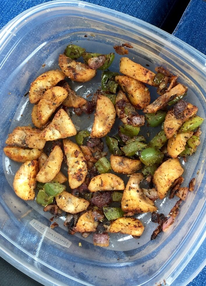 *The early stages of Alkaline Journey* Fried green bananas w/ sautéed green peppers and red onions. Seasoned w/ sea salt, onion powder, basil, oregano, and cayenne pepper. -Ty's Conscious Kitchen recipe