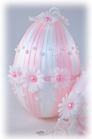 Easter Egg Ornament | Easter Ornament | Pink and White Daisy Ornament