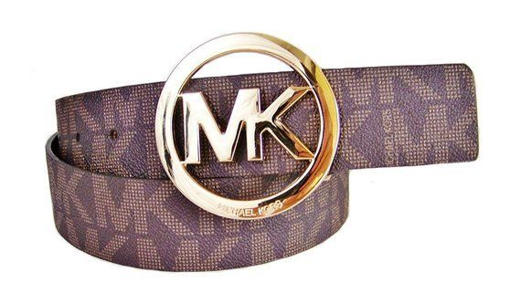 $45 - Michael Kors Mk Signature Monogram Logo Gold Buckle Belt Brown Size Large #michaelkors
