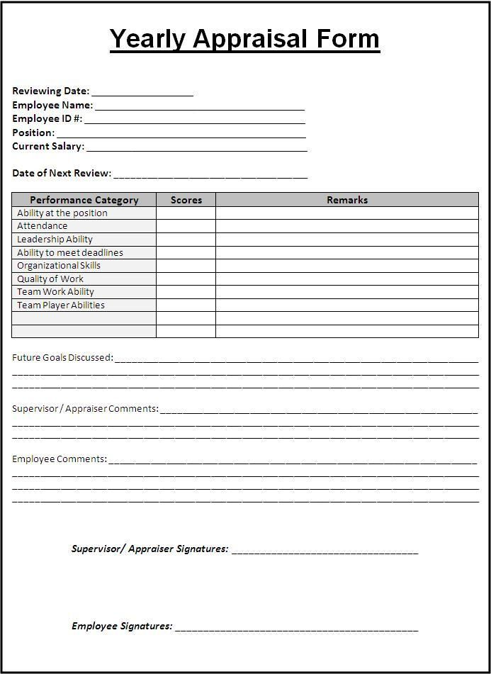 Yearly Appraisal Form wordstemplates Evaluation form, Employee
