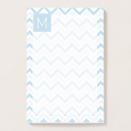 Monogram | Light Blue Chevron Post-it Notes - baby gifts child new born gift idea diy cyo special unique design