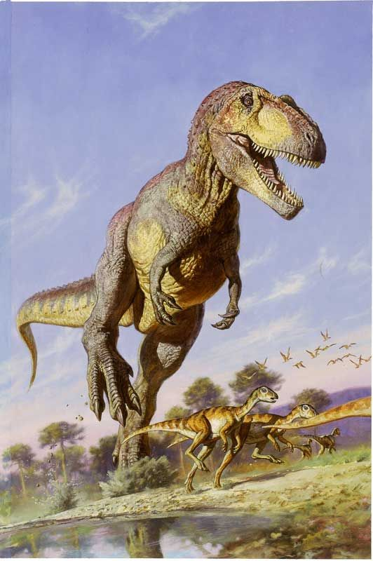"Running Giganotosaurus by James Gurney:  ""This painting was done over ten years ago. Since then, John Hutchinson of Stanford University has convincingly argued that giant dinosaurs like T.rex or Giganotosaurus probably didn't have the leg muscles to be able to run at the kind of speeds we imagine.  So if I were to do this painting again, I'd show him at a fast walk. A walking dinosaur may not be quite as impressive as a running dinosaur, but as long as he's walking faster than his prey, it's"