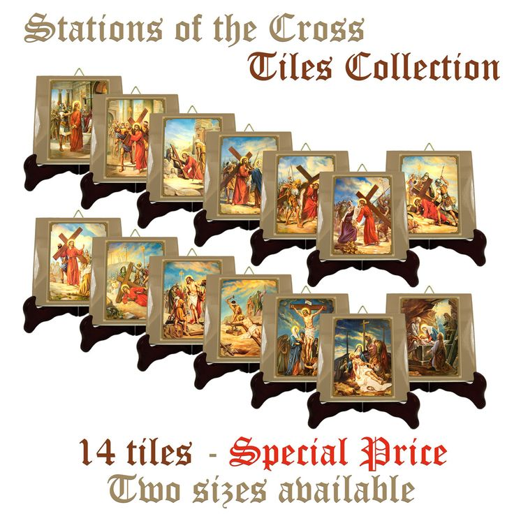 On #etsy: Via Crucis - Stations of the Cross ceramic tiles collection - 2 sizes available - suitable for indoor or outdoor #viacrucis #stations #cross #religiousart #tiles #catholic #catholics http://etsy.me/2EtXa3z
