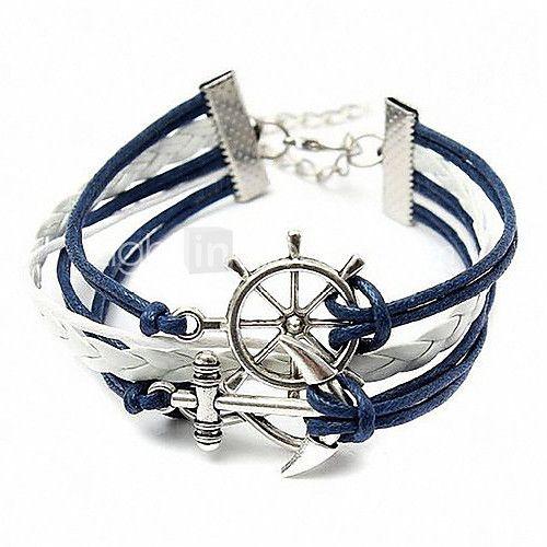 Leather Bracelet Wrap Bracelet Anchor Bracelet,Infinity Bracelet Anchor And Ruddeer Decoration 16cm Ethnic Chaine Shixin® Christmas Gifts 2017 - $1.99