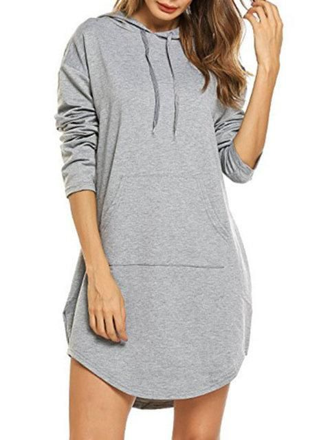 Hoodie Women Shift Daily Long Sleeve Cotton Pockets Dress 17