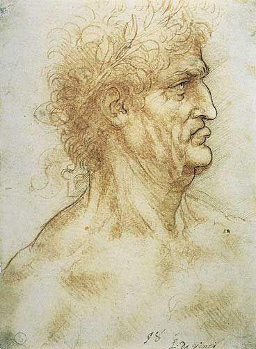 Leonardo Da Vinci Defne Çelenkli Yaşlı Erkek Profil Etüdü, 1506-1508