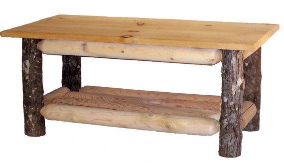 Hickory & Cedar Log Coffee table by HiddenLakeFurniture on Etsy