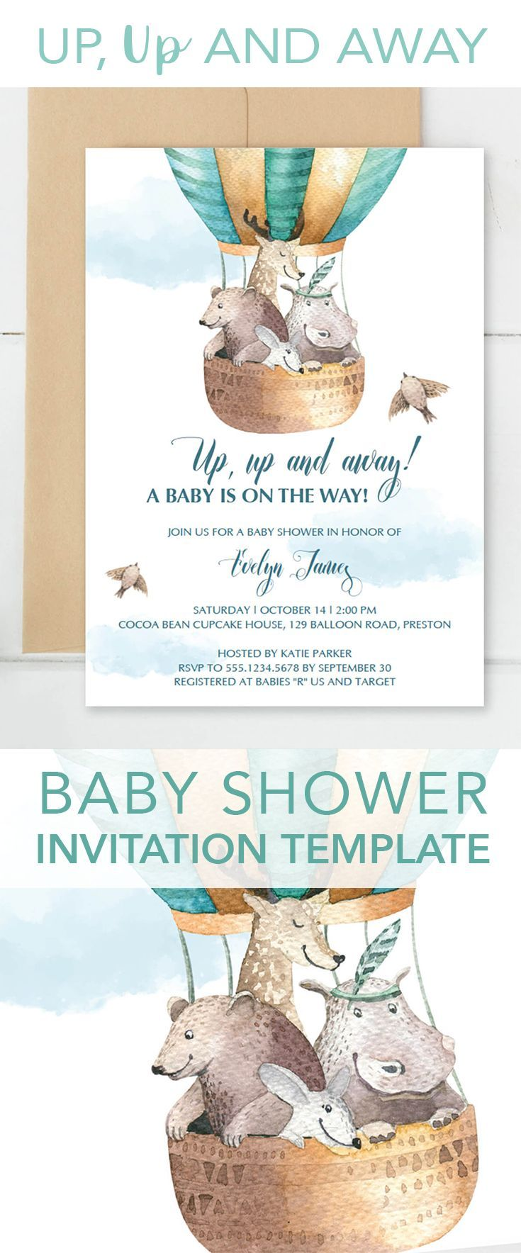 up up and away baby shower invitation template in 2018 parties
