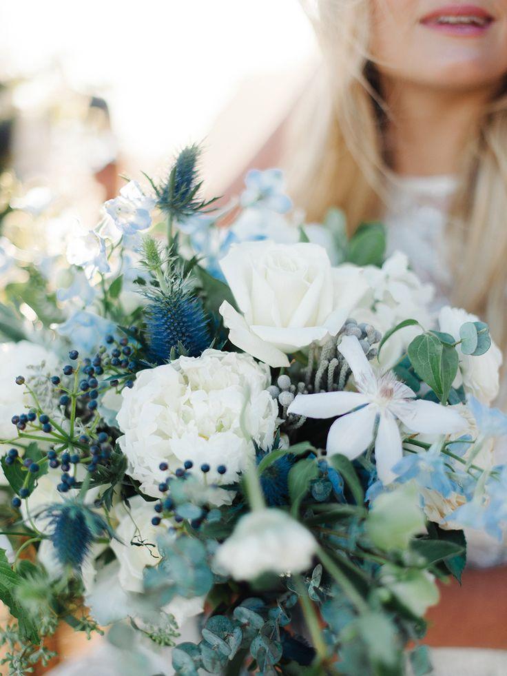blue and white bouquet - http://ruffledblog.com/malibu-coastal-bohemian-wedding-inspiration