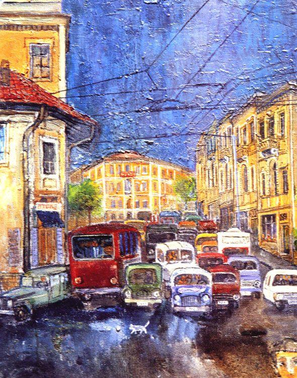 intro-1977 Cihat Burak , Galatasaray lise öğrencisi, o resim çalışmalarına 1952 yılında Paris'e gitti Akademisi Mimarlık Bölümü'nden mezun oldu. 1977 yılında Görsel Sanatlar Sedat Simavi Vakfı ödülü sahibi oldu. Akaretler tuval üzerine yağlıboya 60 x 72 cm - Koleksiyon Taviloğlu