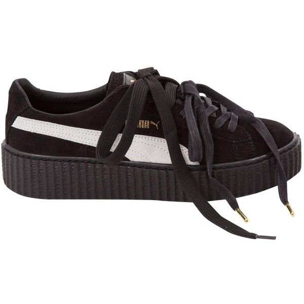 Pre-owned Rihanna X Puma Leather Trainers ($147) ❤ liked on Polyvore featuring shoes, sneakers, black, women shoes trainers, puma sneakers, black shoes, black sneakers, black leather trainers and leather trainers