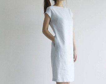 Túnica de cuello de barco vestido simple lino lino vestido